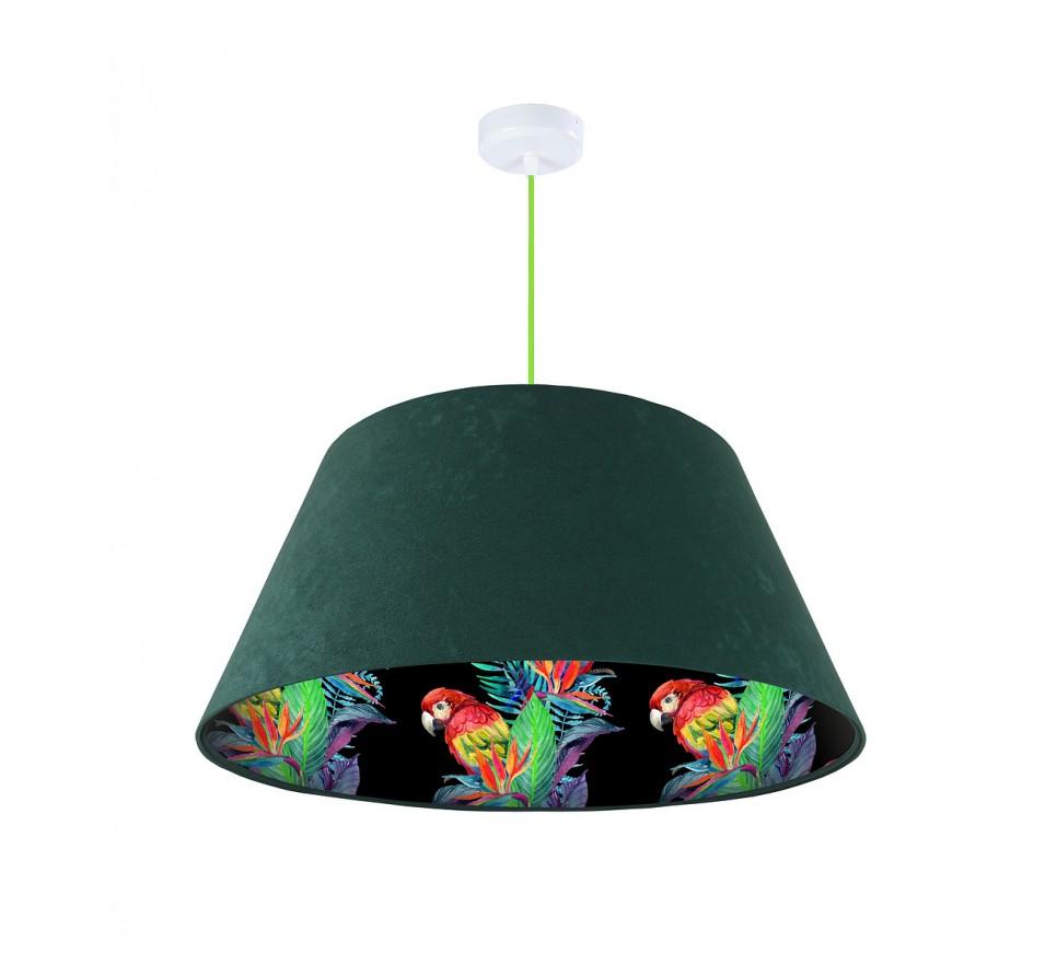 Lampa wisząca zielona Wielki Dzwon MacoDesign Egzotyczna papuga
