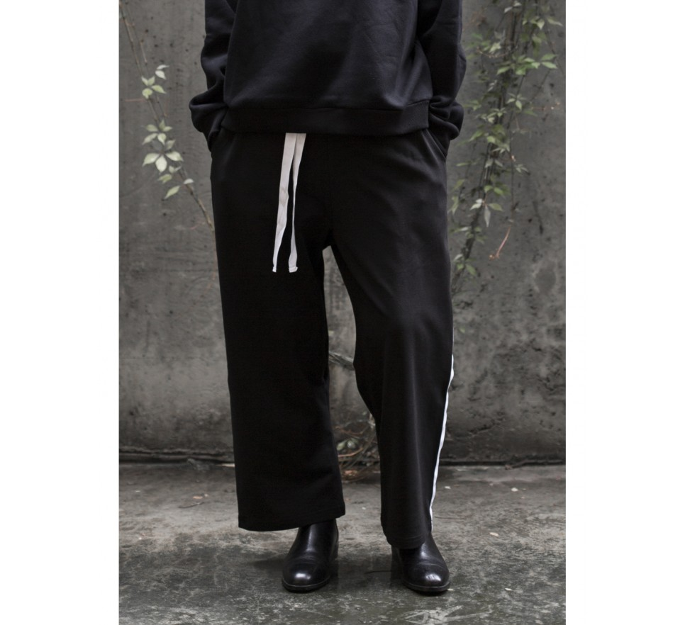 Stripes pants in black