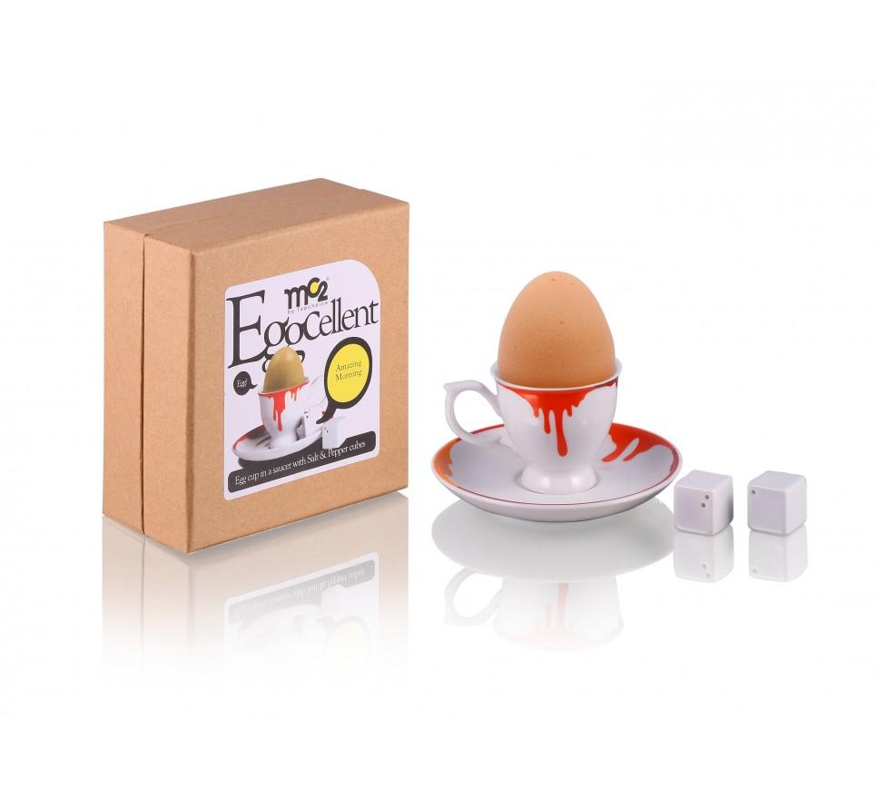 Zestaw na jajko z porcelany - farba - Silly Design