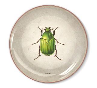 Talerz dekoracyjny zielony żuk