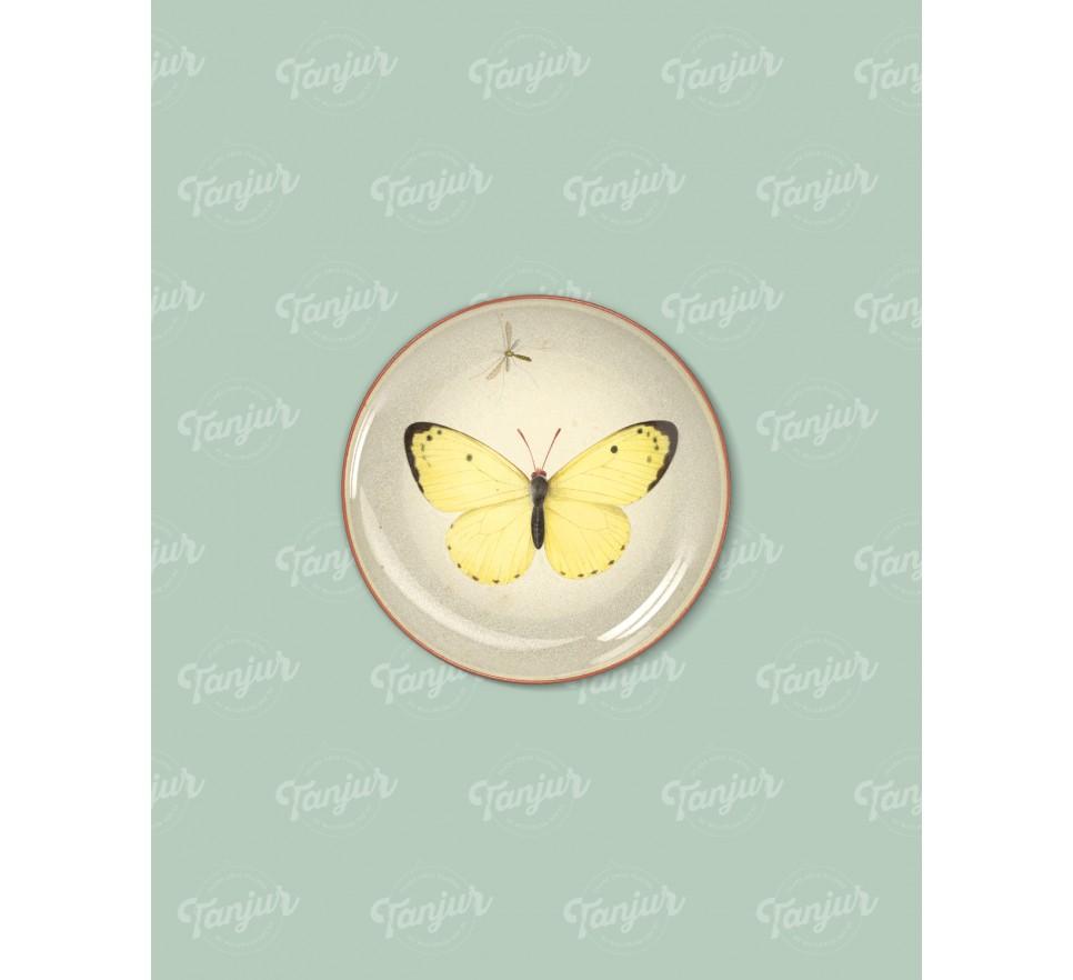 Talerz dekoracyjny Żółty Motyl