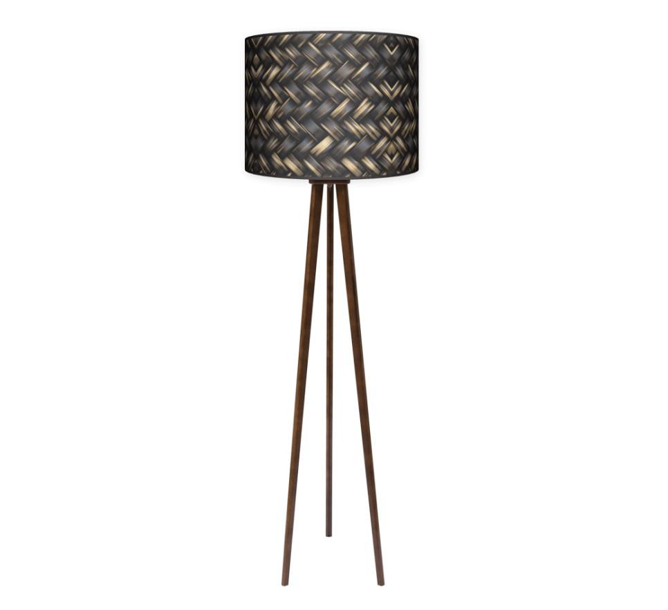 Lampa podłogowa trójnóg duży - Plecionka_orzech