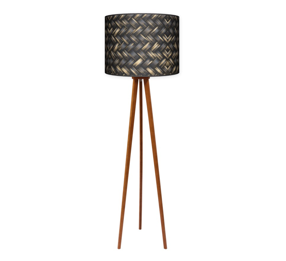 Lampa podłogowa trójnóg duży - Plecionka_calvados