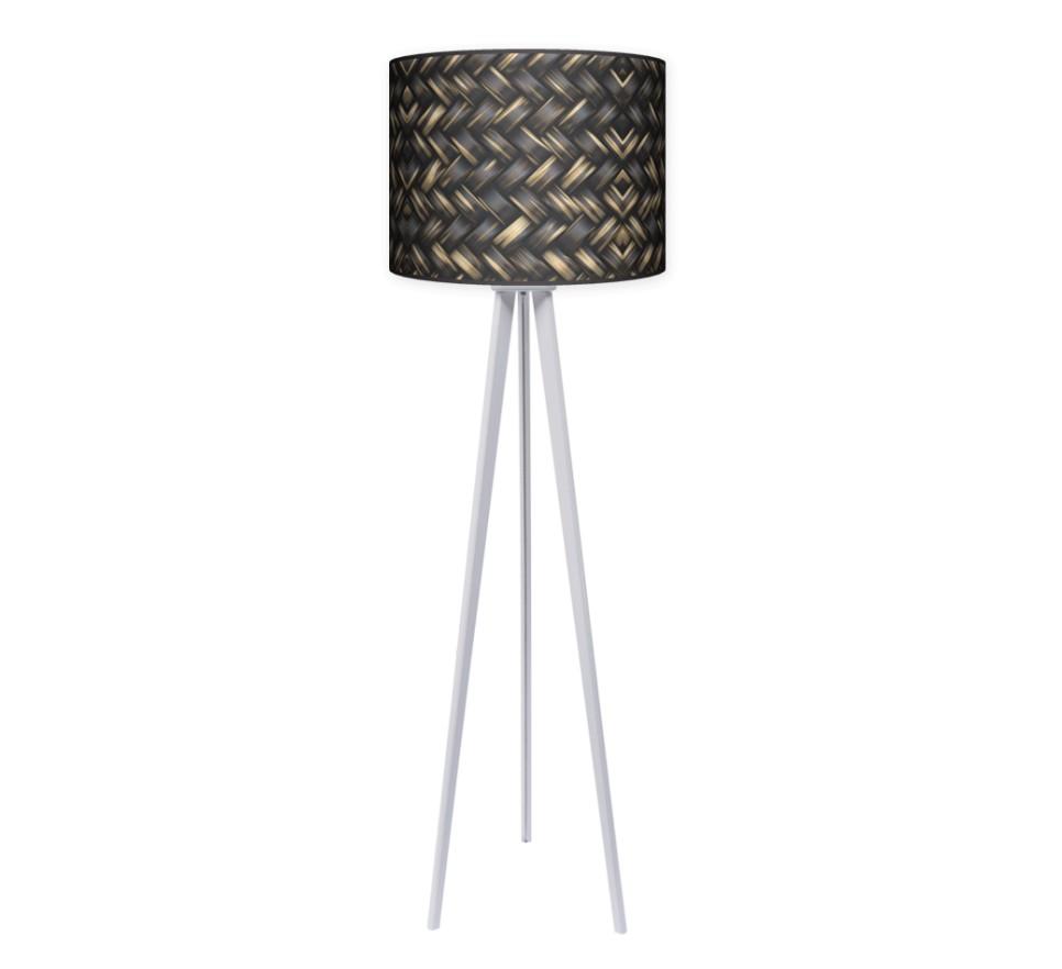 Lampa podłogowa trójnóg duży - Plecionka_biały