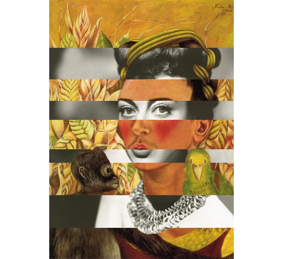 Frida Kahlo's Self Portrait with Parrot & Joan Crawford na płótnie i plakat