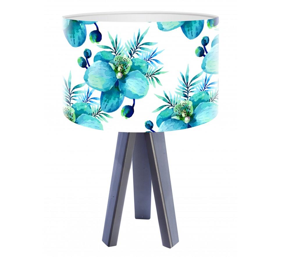 Egzotyczna lampa biurkowa MacoDesign Błękitny storczyk