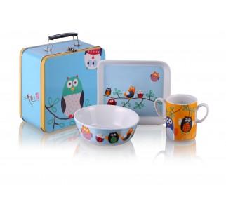 """Zestaw śniadaniowy z porcelany """"Sówki w walizce """" - Silly Design"""