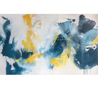 """Druk na płótnie """"Przygoda w chmurach"""" 70x120 cm - obraz abstrakcyjny"""