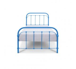 BABUNIA Łóżko metalowe dziecięce niebieskie 90x200 cm