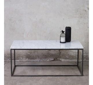 LAPIS Stolik kawowy prostokątny z marmurem 110x60 cm