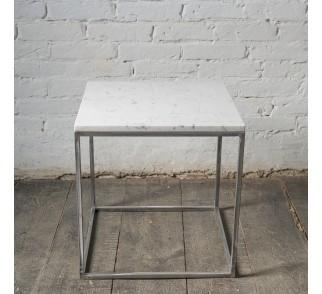 LAPIS Stolik kawowy metal marmur 50x50 cm