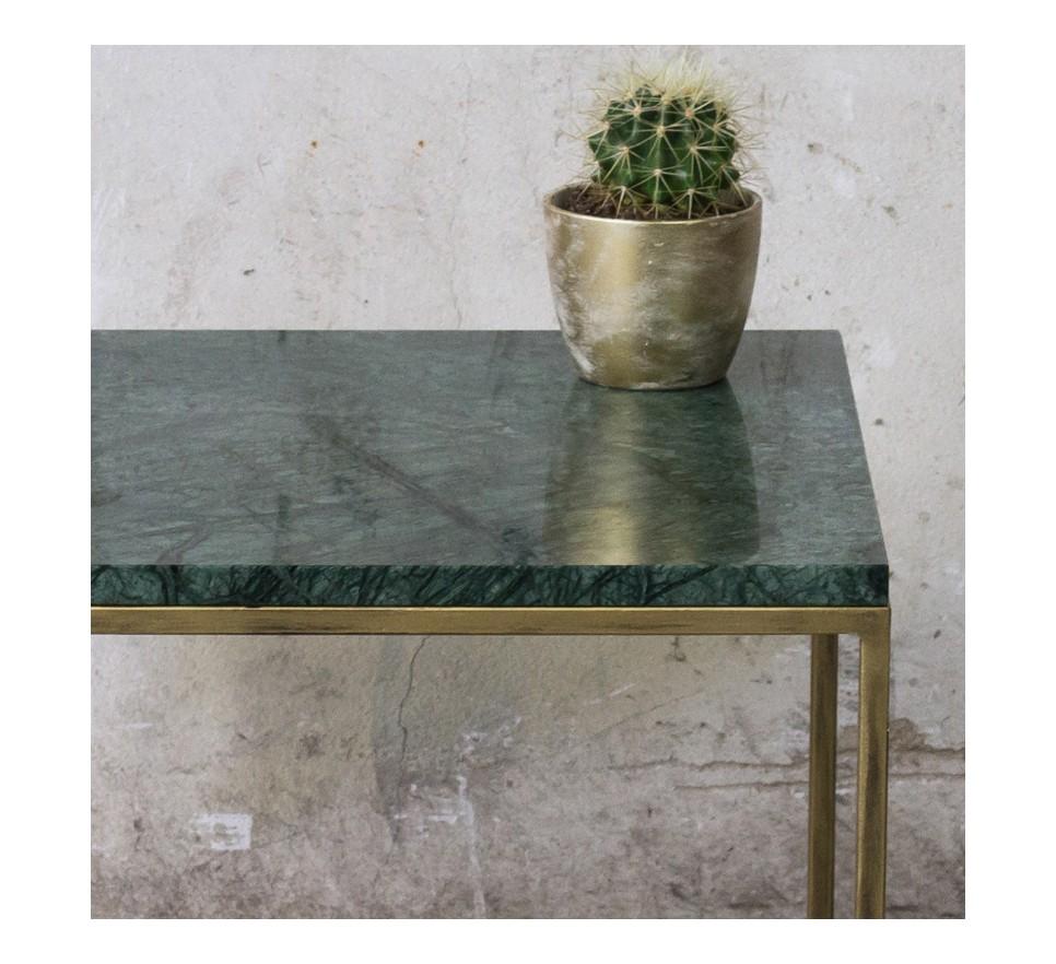 RANA Stolik kawowy złote nogi zielony marmur 50x50 cm