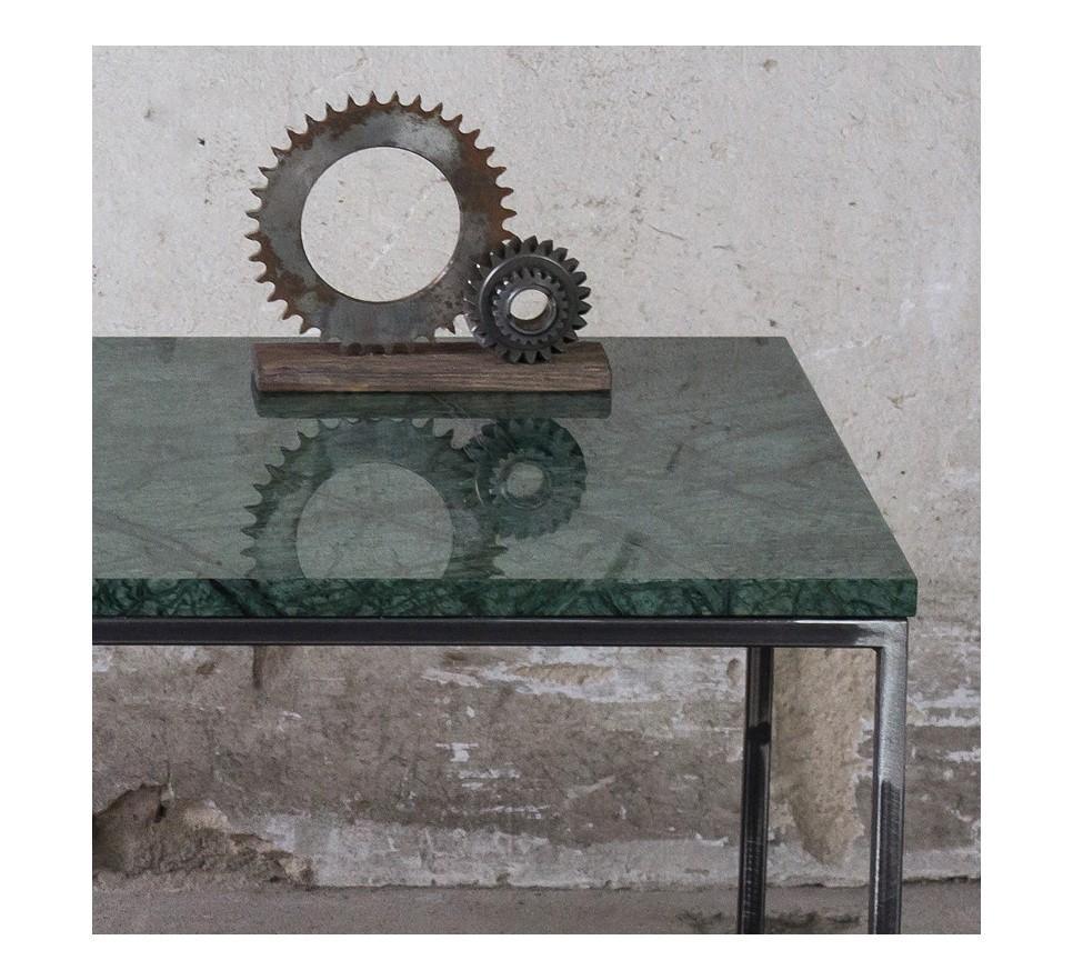 RANA Stolik kawowy surowy metal zielony marmur 50x50 cm