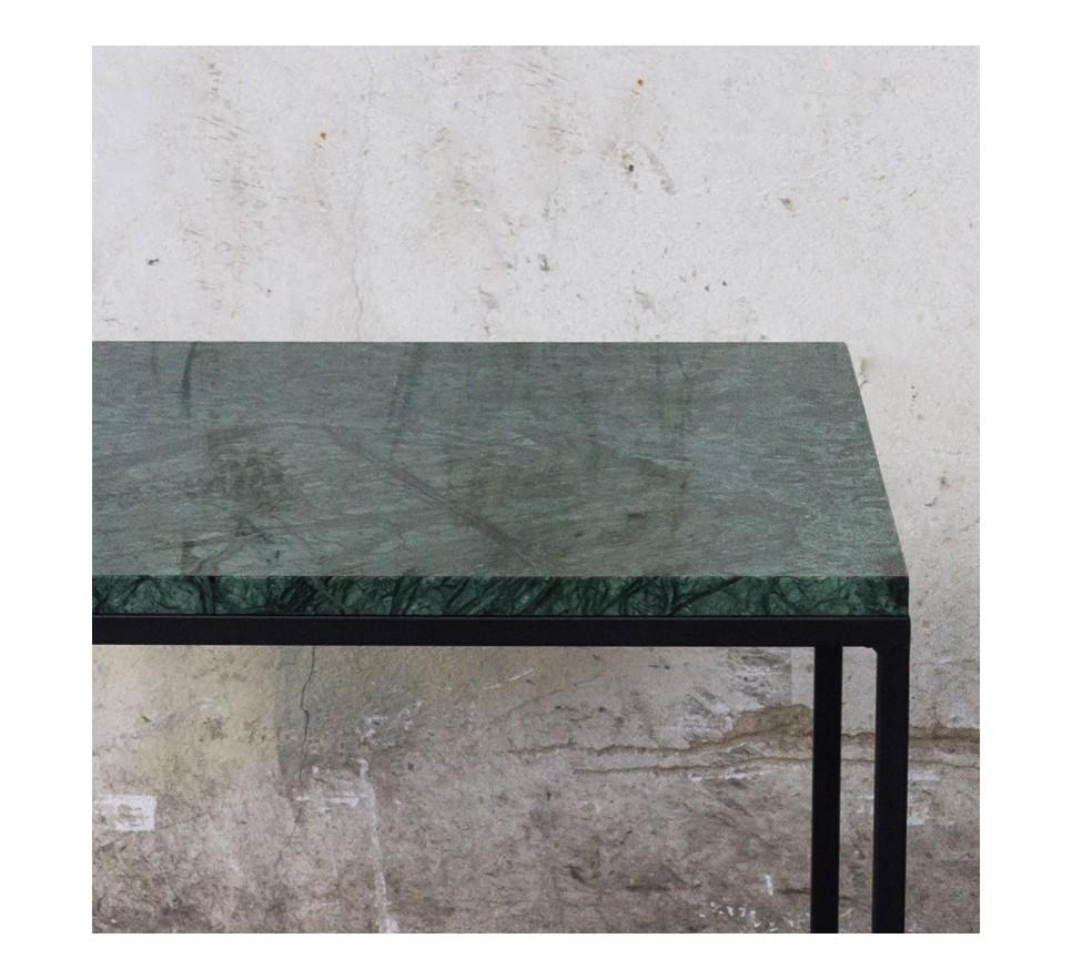 RANA Stolik kawowy czarny metal zielony marmur 50x50 cm
