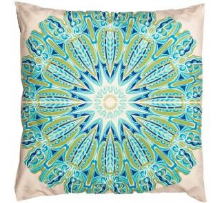 WEGA jasna, aksamitna poduszka z motywem Mandali