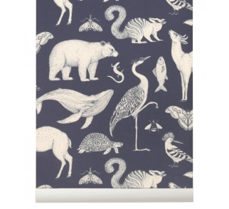 Tapeta Animals - ferm LIVING | dark blue