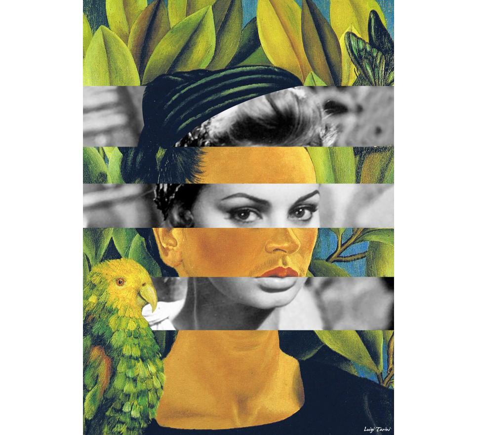 Frida Kahlo's Self Portrait with Bonito Parrot and Sophia Loren