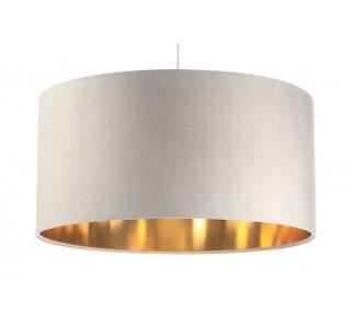 Kremowa lampa wisząca z aksamitu Macodesign Sun kremowo-złota z kolekcji Glamour
