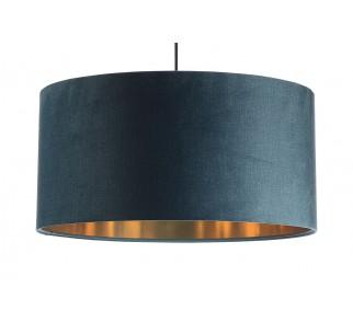 Niebieska lampa wisząca z aksamitu Macodesign Sun niebiesko-złota z kolekcji Glamour