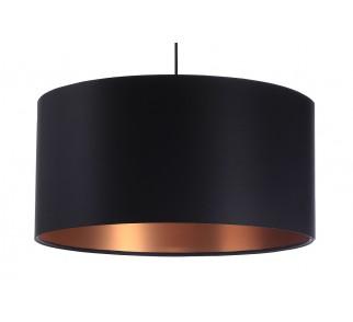 Czarna lampa wisząca z satyny Macodesign Grus czarno-miedziana z kolekcji Glamour