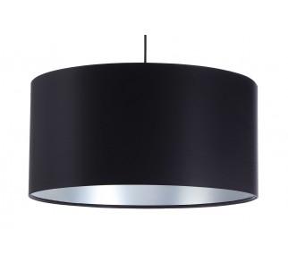 Czarna lampa wisząca z satyny Macodesign Grus czarno-srebrna z kolekcji Glamour