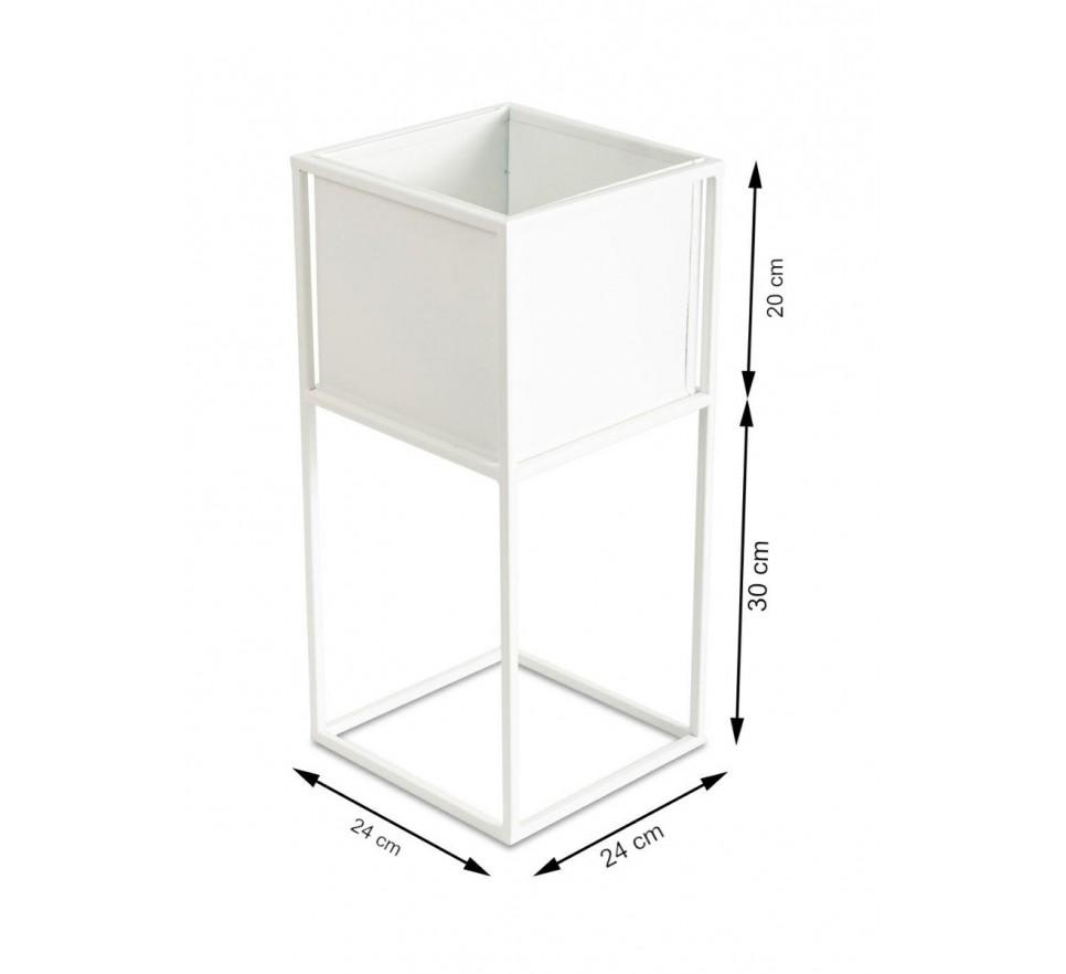 Nowoczesny kwietnik stojak biały 50 cm