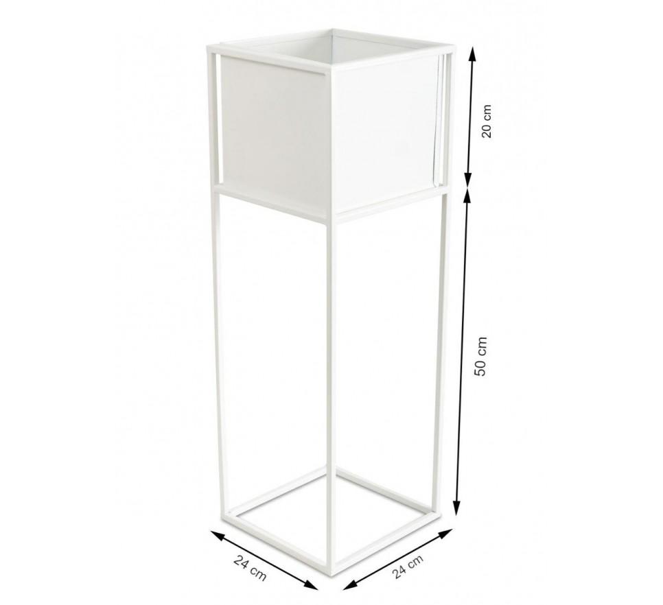 Nowoczesny kwietnik stojak biały 70 cm