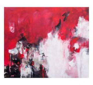 """Obraz ręcznie malowany """"Czerwony zamek"""" 100x120 cm"""