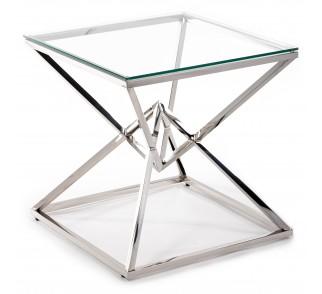 Elegancki stolik kawowy ze szklanym blatem srebrna podstawa ze stali nierdzewnej