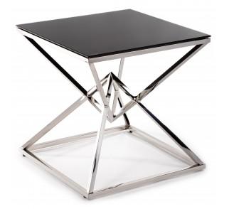 Stylowy szklany stolik kawowy srebrna podstawa ze stali nierdzewnej