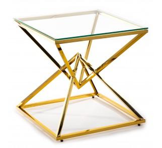 Złoty stolik kawowy w stylu glamour ze szklanym blatem