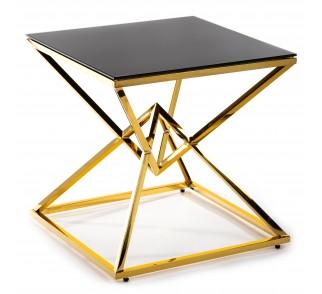 Czarny szklany stolik kawowy w stylu nowoczesnym złota podstawa ze stali nierdzewnej