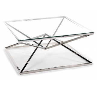Szklany stolik kawowy do salonu szklany blat srebrna podstawa ze stali nierdzewnej