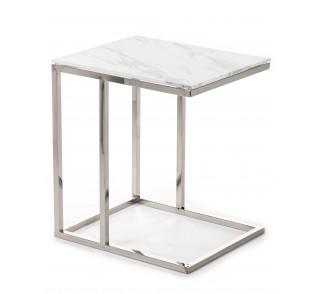 Praktyczny stolik pomocniczy blat ze szkła hartowanego srebrna podstawa ze stali nierdzewnej