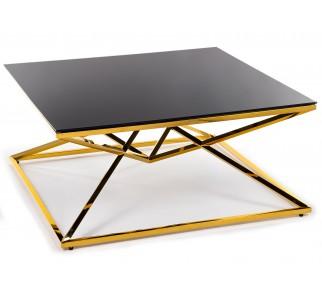 Czarny stolik kawowy do salonu szklany blat złota podstawa ze stali nierdzewnej