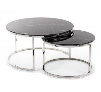 Komplet czarnych stolików wykonanych ze szkła hartowanego i stali niedzewnej