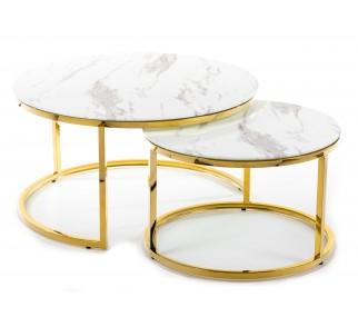 Efektowny komplet stolików kawowych okrągłe blaty ze szkła złota podstawa ze stali nierdzewnej