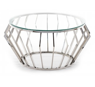 Okrągły stolik kawowy blat ze szkła hartowanego srebrna podstawa ze stali nierdzewnej