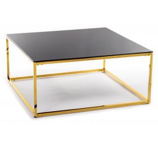 Kwadratowy stolik kawowy w stylu glamour czarny blat ze szkła złota podstawa ze stali nierdzewnej