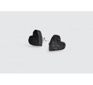 Kolczyki serca - srebro+węgiel