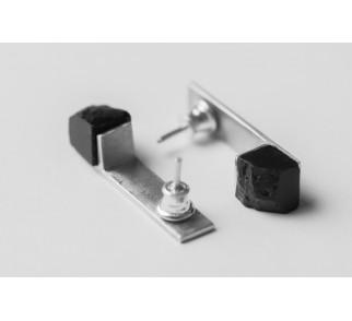 Kolczyki prostokąty Kąty Proste - srebro + węgiel