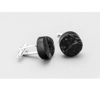 Spinki do mankietów okrągłe - srebro + węgiel
