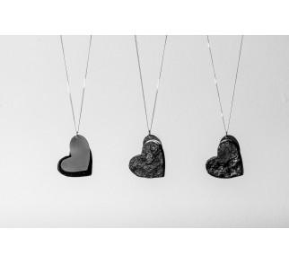 Wisior z łańcuszkiem serce - srebro+węgiel