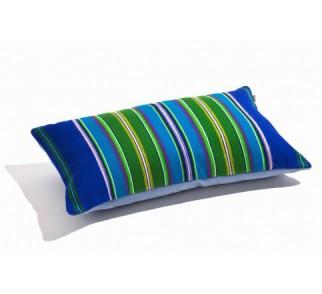 Poduszka niebieska folk pasiak łowicki, prostokątna 60x30cm