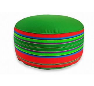 Pufa wełniana folk 80cm czerwono-zielona