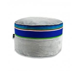 Pufa aksamitna folk 60cm szaroniebieska z pasiakiem