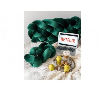Plecione siedzisko KRATA aksamit zielony butelkowy