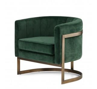 Fotel Madame welurowy styl glamour mosiężny okrągły