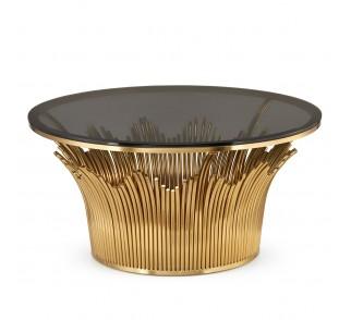 stolik kawowy glamour złoty szklany Vaza