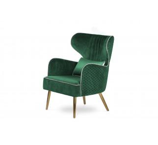 Fotel Randers styl glamour nowoczesny uszak do salonu złote dodatki